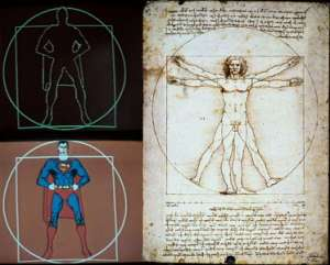 "More Superman Occult Symbolism, Superman as Leonardo Da Vinci's ""The Vitruvian Man"