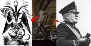 Baphomet and Mussolini Superman Occult Symbolism goat skull found in Superman movies.