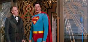 """Superman Occult Symbolism """"all seeing eye"""" on Lex Luthor's Door and windows."""