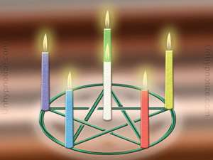 Candles being used for magic and/or ritual. The pentagram is not necessary, but is commonly used for magic, casting spells and rituals.