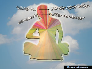Depiction of channeling where distorted messages come in and clear messages come out, translated to be easily understood.
