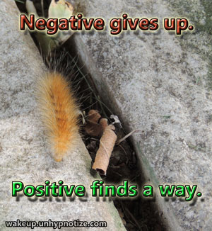 A negative thought is a thought of giving up. A positive thought is a thought of continuing and finding a way no matter what obstacles stand in the way. Negative gives up. Positive finds a way, always.