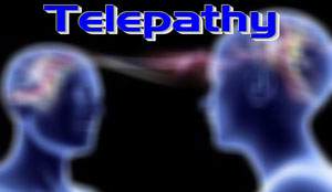A depiction of how telepathic communication works. Telepathy between 2 individuals, communication through waves of the mind.