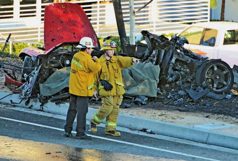 The unnaturally twisted remains of what used to be a Porsche Carrera GT, supposedly crashed and burnt. Paul Walker was supposedly the passenger and Roger Rodas the driver in this horrific wreck.