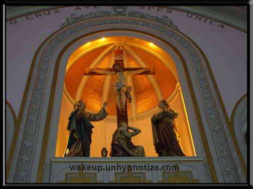 "Jesus on the cross. From the former Cathedral in Haileybury, Ontario. ""O Crux Ave Spes Unica"" Jesus died for our sins."