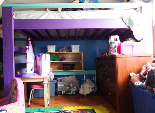 Side view of loft bed #1, assembled and in use.