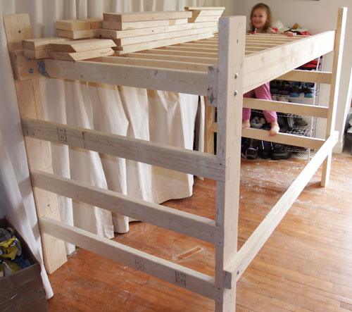 Loft bed after having been sanded. Ready to paint.